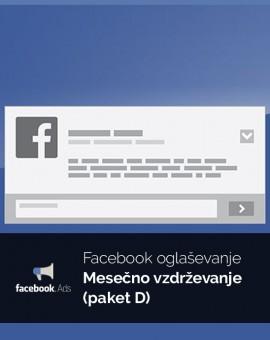 Mesečno oglaševanje (paket D) - vzdrževanje Facebook kampanje