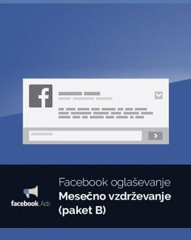 Mesečno oglaševanje (paket B) - vzdrževanje Facebook kampanje
