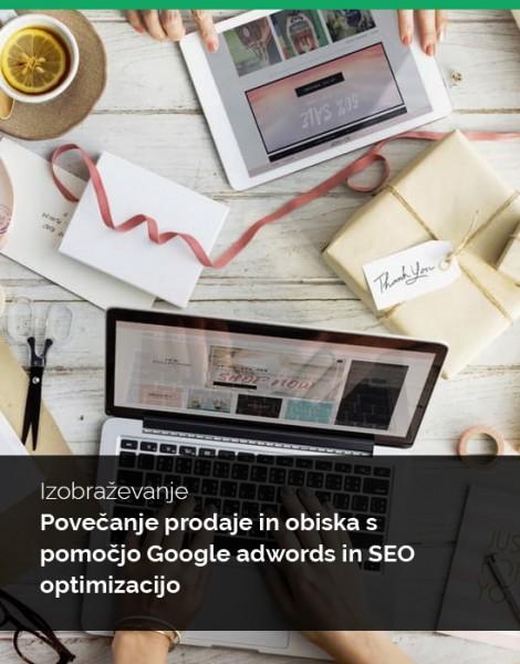 """Individualna izobraževanja """"Povečanje prodaje in obiska s pomočjo Google adwords in SEO optimizacijo"""""""